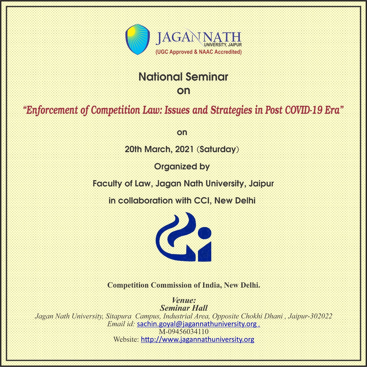Jagan Nath University Seminar on Enforcement of Competition Law