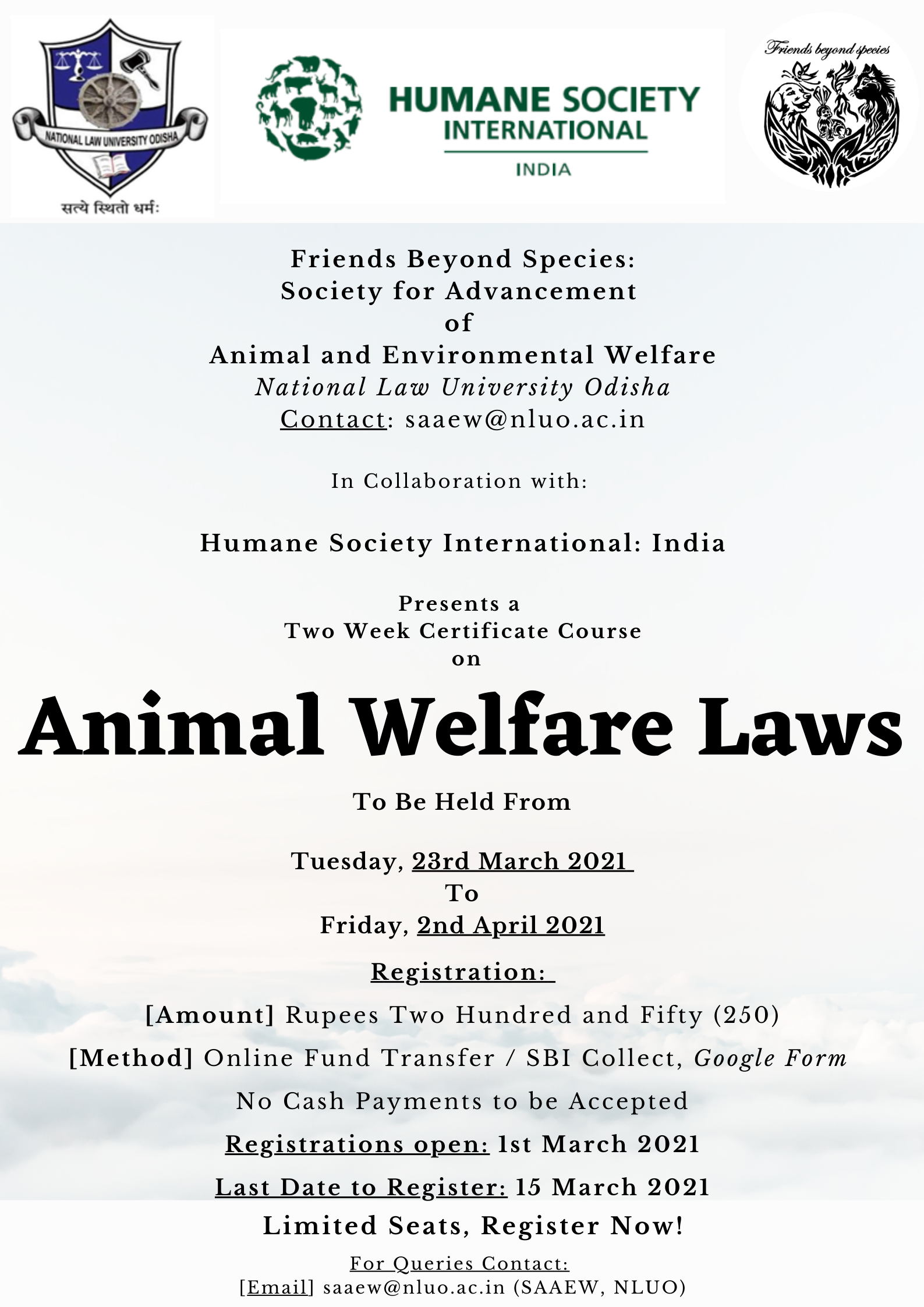 NLUO Certificate Course on Animal Welfare Laws