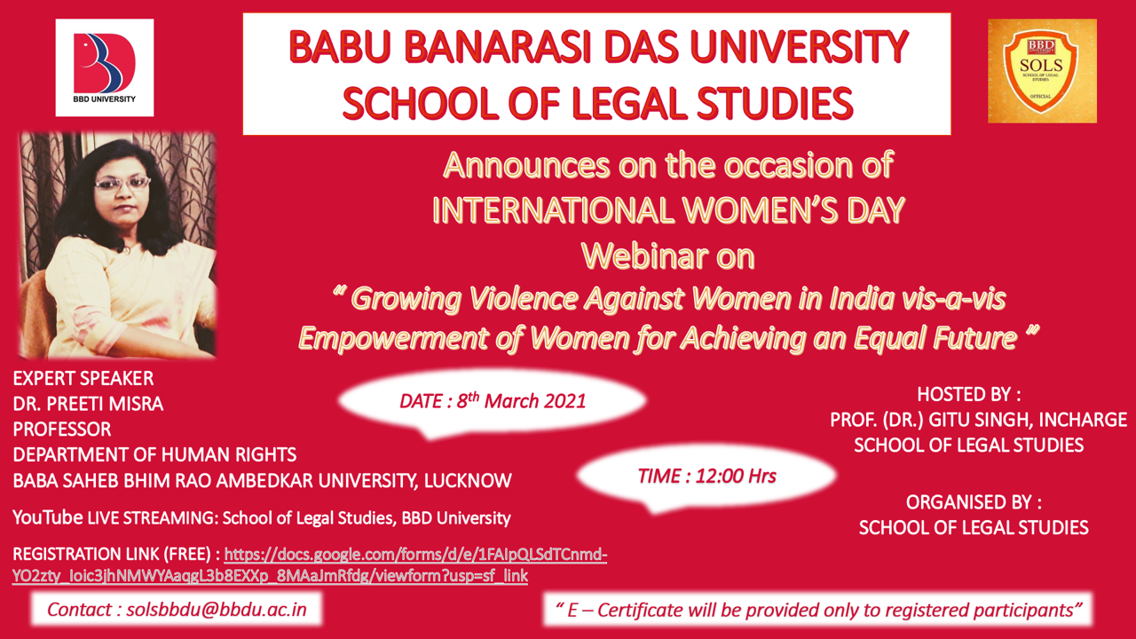 BBDU's Webinar on Growing Violence Against Women in India vis-a-vis Empowerment of Women for Achieving on Equal Future