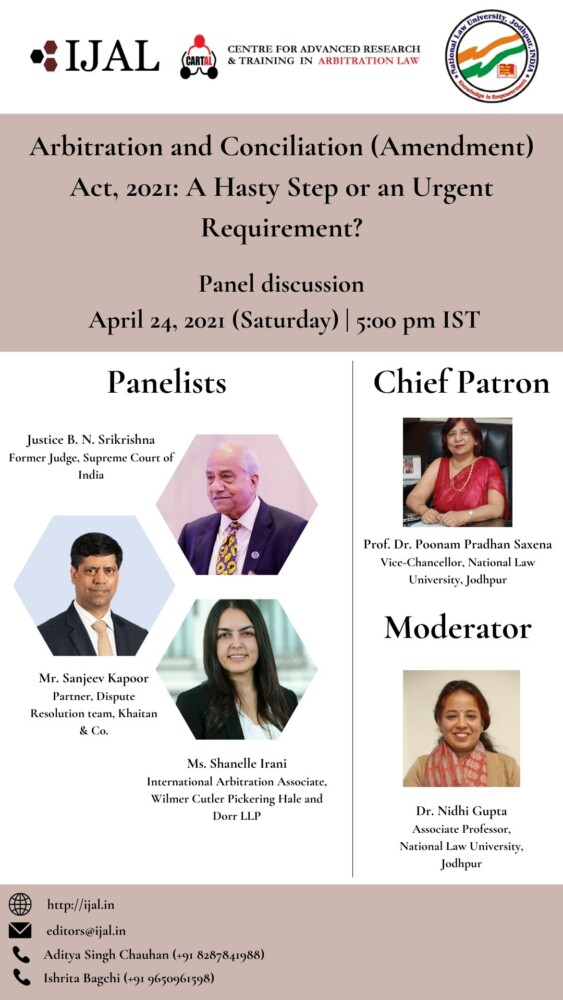 Panel Discussion on Arbitration and Conciliation (Amendment) Act 2021