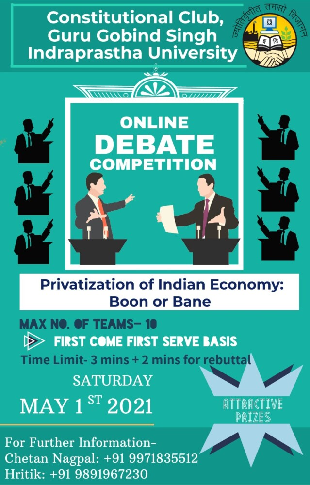 ojnline debate competition on provatisation of indian economy by ggsipu