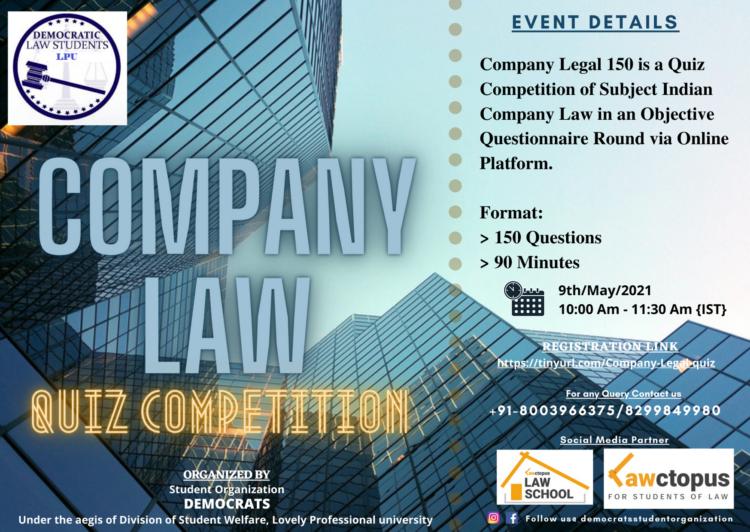 LPU Democrats' Company Legal – 150 Quiz Competition [May 9]