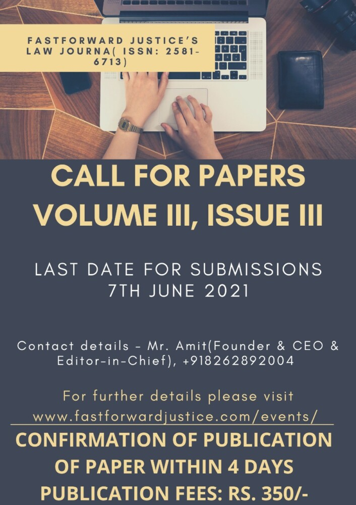 Call For Papers: FastForward Justice's Law Journal