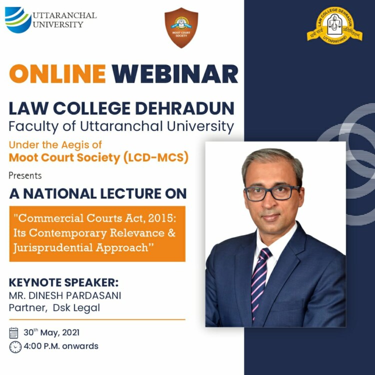 Uttaranchal University's Online National Lecture on Commercial Courts Act