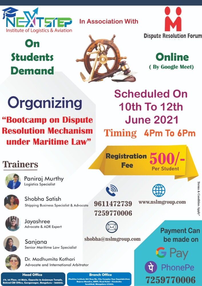 Bootcamp on Dispute Resolution Mechanism under Maritime Law