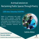 virtual session on reclaiming public spaces through poetry by sambhaavna institute