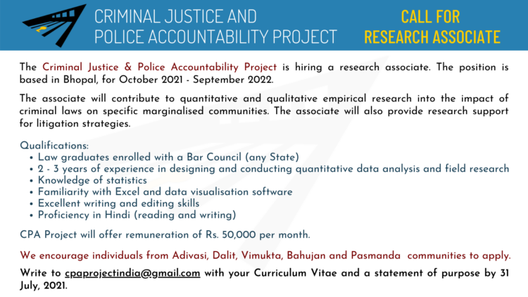 cpa project research associate job bhopal