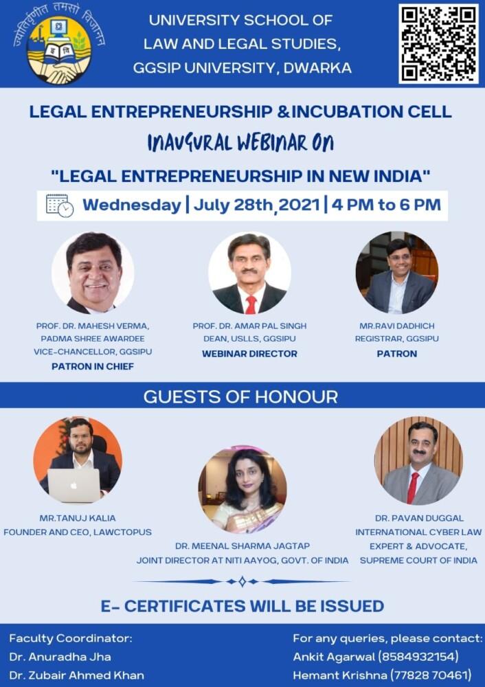 webinar on legal entrepreneurship in new india by uslls ggsipu