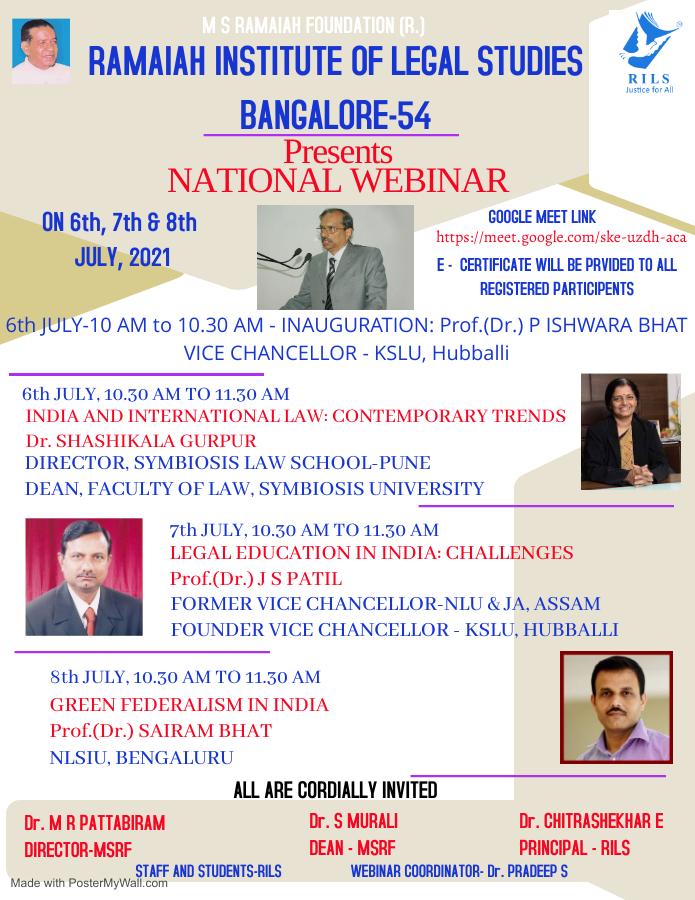 webinar on different legal topics by ramaiah institute of legal studies