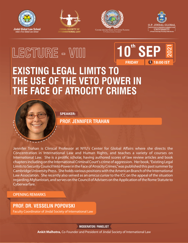 lecture on legal limits to use of veto power on use of atrocity crimes by jgls international law society