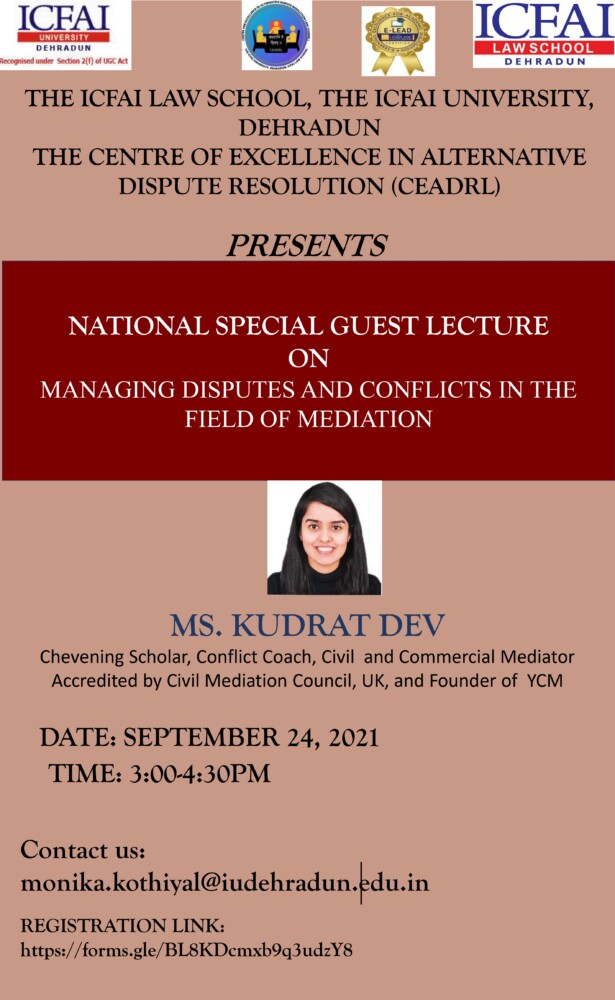 lecture on managing conflicts and disputes in the field of mediation by icfai law school dehradun