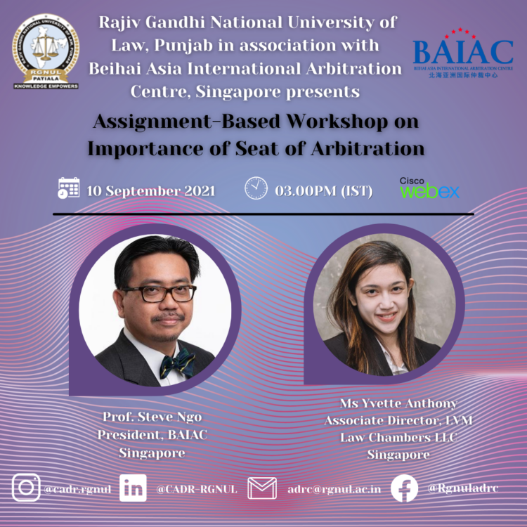 RGNUL Workshop on Importance of Seat of Arbitration