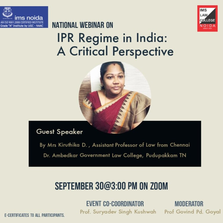 naqtyional webinar on ipr regime in india a critical perspective by ims law college