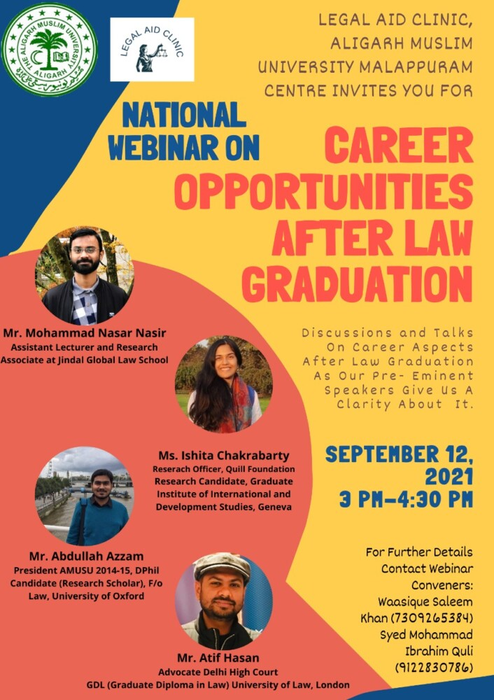 national webinar on career opportunities after law graduation by department of law aligarh muslim university