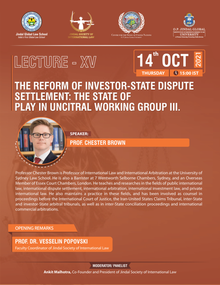 jsil jgls lecture on reform of investor state dispute settlement state of play in uncitral working group 3