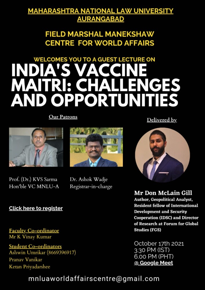 mnlua online guest lecture on india'sw vaccine maitri challenges and opportunities by centre of world affairs