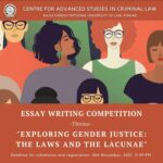Essay Writing Competition on Exploring Gender Justice by CASCL, RGNUL [Cash Prizes worth Rs 22K]: Register by Nov 10
