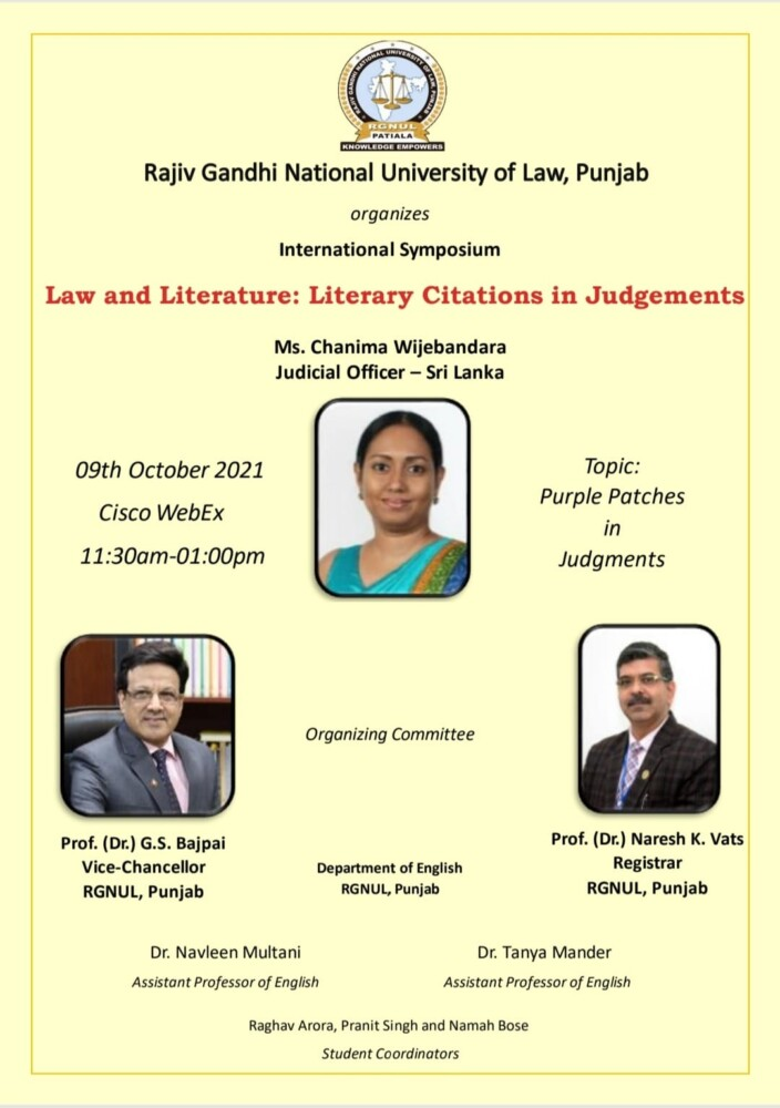 international online symposium on law and literature literary citations in judgments by rgnul