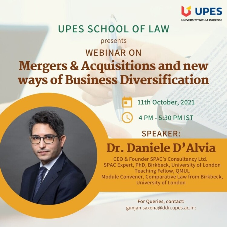 UPES Webinar on Mergers and Acquisitions